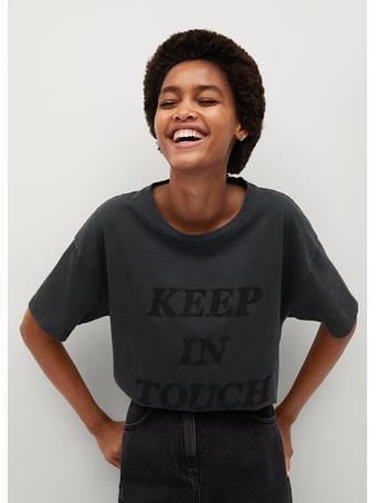 MANGO - Message Cotton T-Shirt (Keep In Touch) DARK GREY