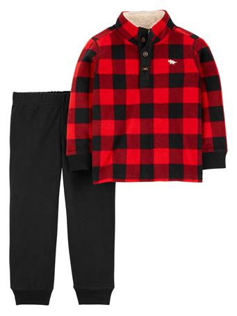 CARTER'S - 2 Piece Bulffalo Plaid Pullover & Jogger Set - (12-24M) RED