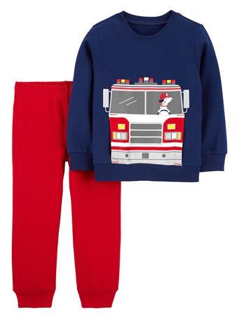 CARTER'S - 2 Piece Firetruck Jersey Tee & Pant Set - (2T-5T) NOVELTY