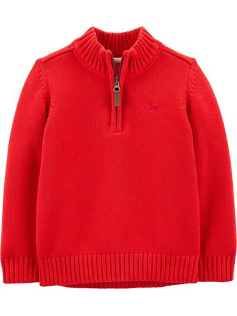 CARTER'S - 1/2 Zip Cotton Pullover - (2T-5T) RED