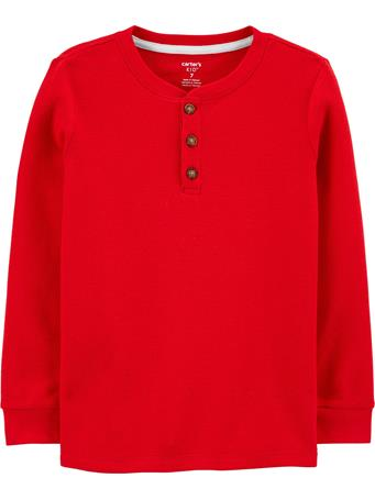 CARTER'S - Thermal Henley Tee - (5-8) RED