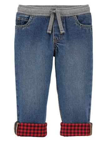 CARTER'S - Pull On Denim Pants With Buffalo Check Cuff - (5-8) BLUE