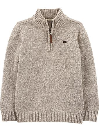 CARTER'S - 1/2 Zip Cotton Pullover - (5-8) GREY