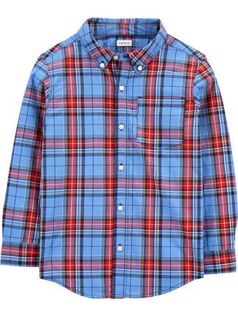 CARTER'S - Long Sleeve Plaid Shirt - (5-8) BLUE