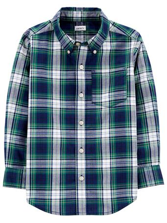 CARTER'S - Long Sleeve Checkered Plaid Shirt - (5-8) BLUE