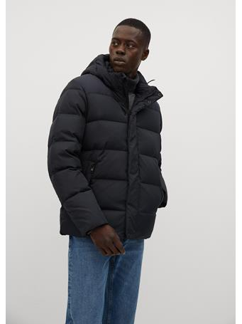 MANGO - Technical Fabric Quilted Anorak BLACK