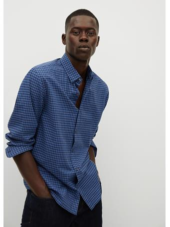 MANGO - Slim Fit Gingham Check Shirt BLUE