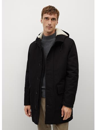 MANGO - Faux Shearling-Lined Quilted Parka BLACK