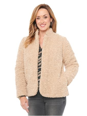 DEMOCRACY - Faux Shearling Fur Stand Up Collar Jacket PEBBLE