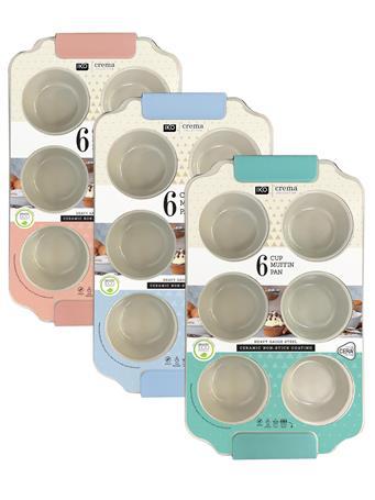 IKO CREMA BAKEWARE - 6 Cup Muffin Tin BLUE