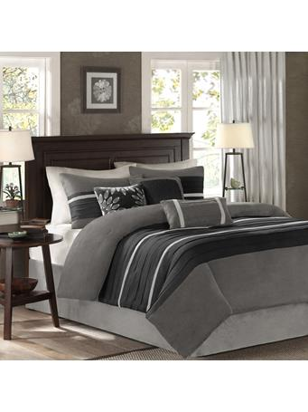 MADISON PARK - Palmer Microsuede 7-Piece Comforter Set BLACK