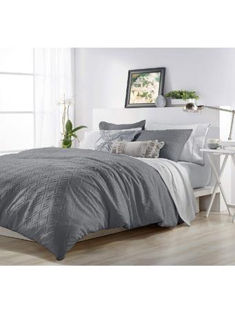 MICROSCULPT - Solid Ogee Comforter Set CHARCOAL