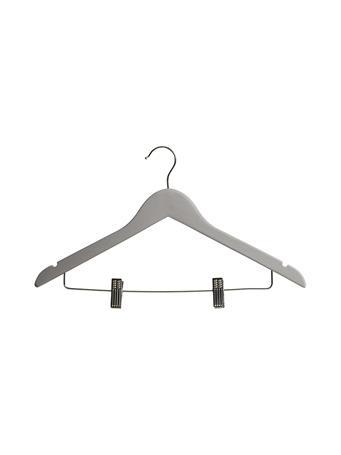 STORAGE ESSENTIALS - Hangar 5 Pack Wood Shirt With Clips GREY