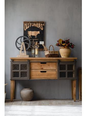 EDEN & WEST - Console with Sliding Barn Doors & Drawers SOLID WOOD