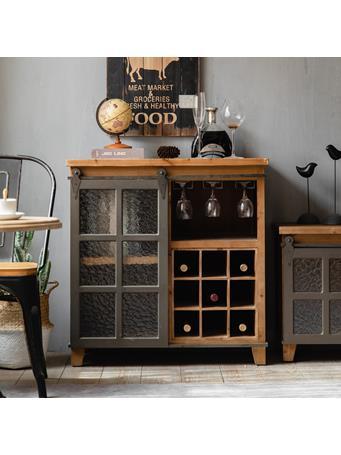 EDEN & WEST - Accent Cabinet with Barn Door and Wine Shelf SOLID WOOD
