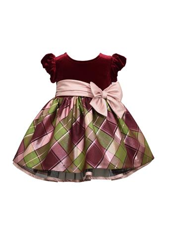 BONNIE JEAN - Short Sleeve Solid Dress Plaid Bottom BURGUNDY