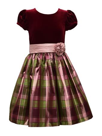 BONNIE JEAN - Short Sleeve Solid Dress Plaid Bottom BURGUNDY