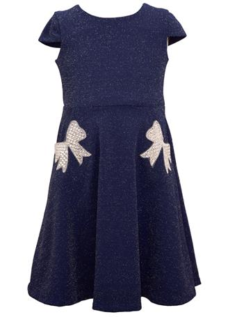 BONNIE JEAN - Rhinestone Pocket Dress BLUE