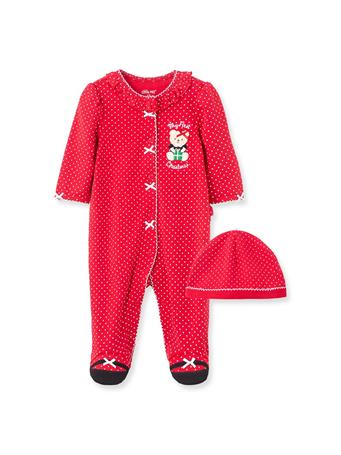 LITTLE ME - Holiday Bear Footies RED