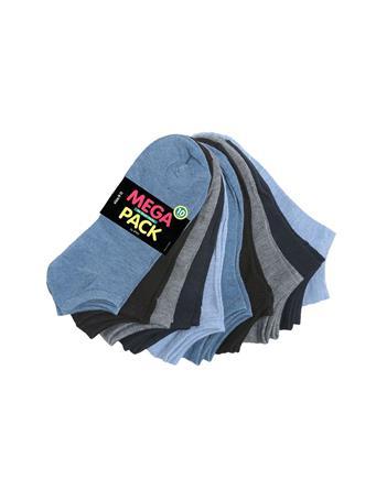 GOLDENSTONE HOSIERY - 10 Pack No Show Socks BLK/BLU/GRY