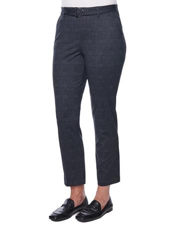 DEMOCRACY - Ab Solution High Rise Belted Plaid Trouser CHARCOAL GREY