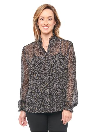 DEMOCRACY - Blouson Sleeve Charcoal Animal Print Chiffon Blouse CHARCOAL/OLIVE