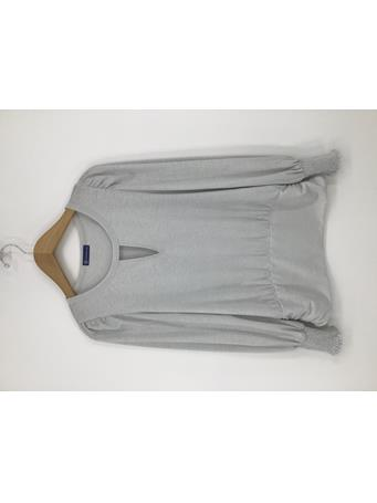 DEMOCRACY - Long Sleeve Cut Out Neck Band Hem Knit Top OFF WHITE SILVER
