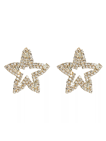 TREASURE JEWELS - Oversized Star Crystal Earrings No Color