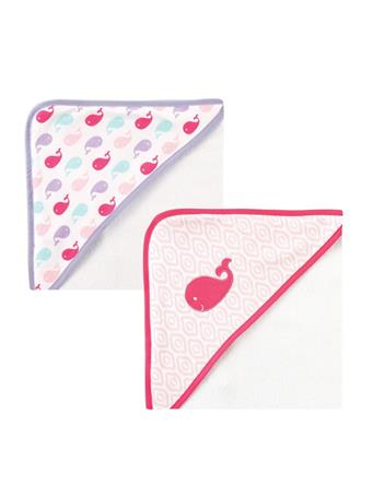 LUVABLE FRIENDS -  Girl 2 Pack Hooded Towel MULTI