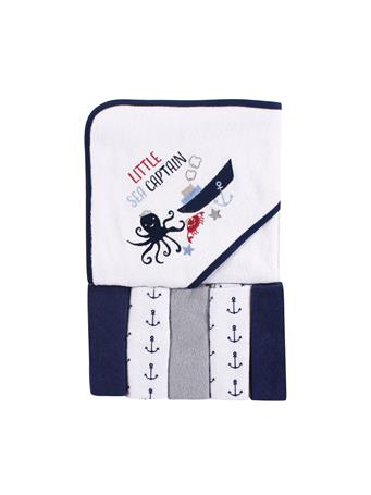 LUVABLE FRIENDS - Hooded Towel and 5 Washcloths, Sea Captain, One Size MULTI