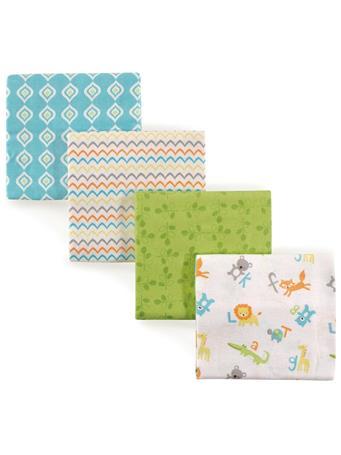 LUVABLE FRIENDS - Flannel Receiving Blankets, 4-Pack, Alphabet MULTI