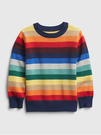 GAP - Toddler Happy Stripe Crewneck Sweater WARM STRIPE