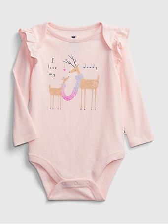 GAP - Baby Mix and Match Ruffle Graphic Bodysuit PINK CAMEO
