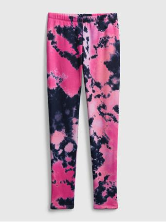 GAP - Kids Cozy Fleece Lined Leggings PINK TIE DYE