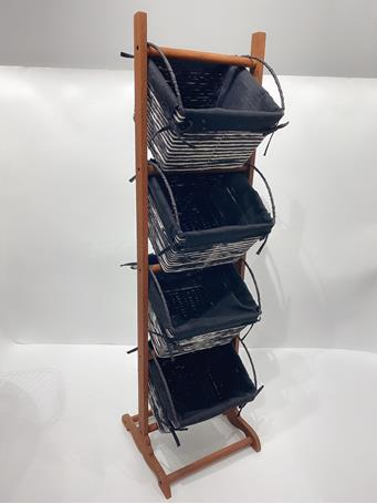 Multi-Tier Storage Rack with Lined Wicker Baskets CHARCOAL