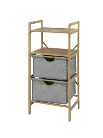 Bamboo Shelf with 2 Shelves & 2 Baskets GREY