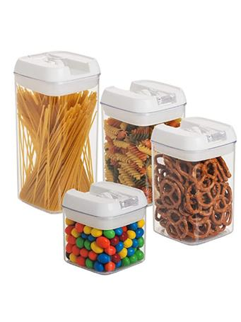 EASY LOCK - Flip Lock Air Tight Square Food Canisters WHITE