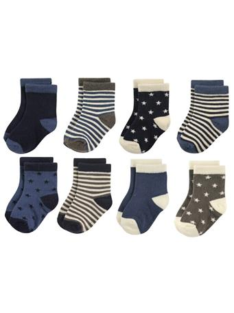 HUDSON BABY - Crew Socks, 8-Pack, Stars and Stripes No Color