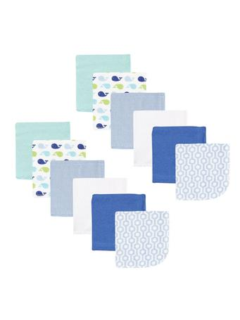 LUVABLE FRIENDS - Washcloths, 12-Pack, Blue Whale No Color
