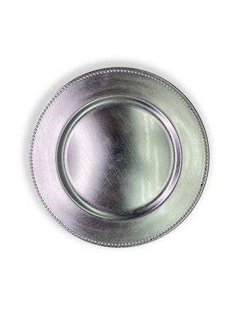 Pearl Edge Enamel Plate Charger SILVER
