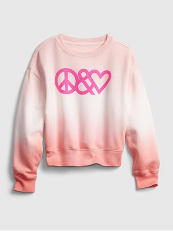 GAP - Kids Dip-Dye Graphic Crewneck Sweatshirt PINK TIE DYE