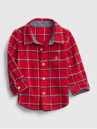 GAP - Baby Plaid Flannel Shirt MODERN RED