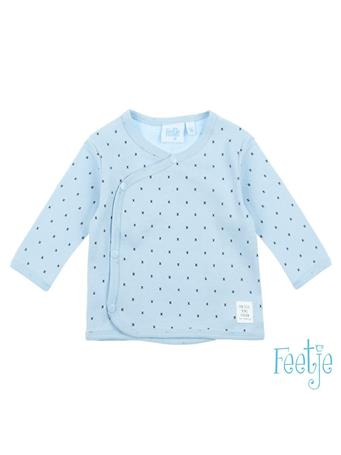 FEETJE - MINI PERSON Allover Print Wrap-Over Side-Snap Long Sleeve Top BLUE
