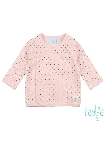 FEETJE - DOTS  Allover Print Wrap Over Side-Snap Long Sleeve Top PINK