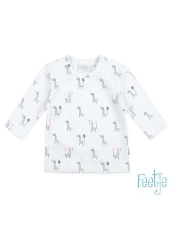 FEETJE - GIRAFFE Allover Print Long Sleeve Top WHITE