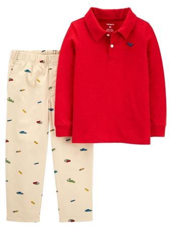 CARTER'S - 2-Piece Slub Jersey Polo & Schiffli Pant Set RED