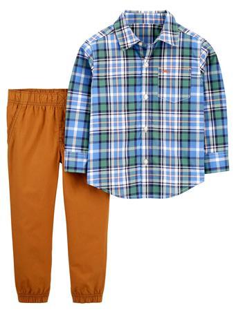 CARTER'S - 2-Piece Plaid Button-Front Shirt & Pant Set NOVELTY