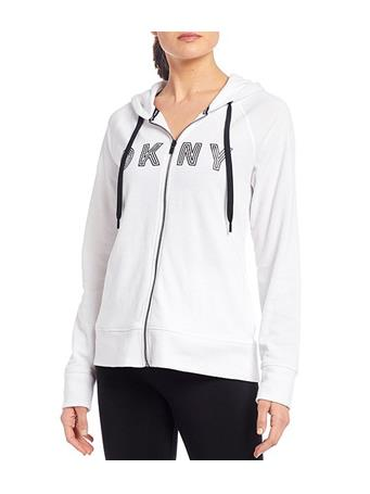 DKNY - Sport Track Logo Long Sleeve Zip Hoodie WHITE