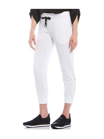 DKNY - Sport Drawstring Cropped Track Logo Jogger Pant WHITE