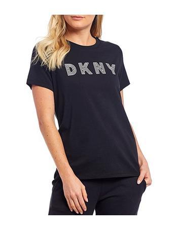 DKNY - Sport Track Logo Short Sleeve Cotton Blend Tee BLACK